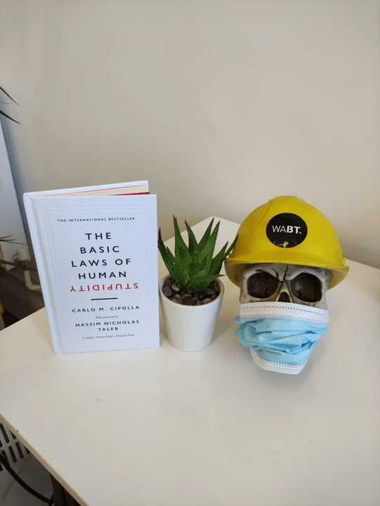 We Are Brass Tacks. Internal comms agency. Fred the Head. Book of the month. Skull with hard hat sitting onw hite table next to a succulent plant and a white book