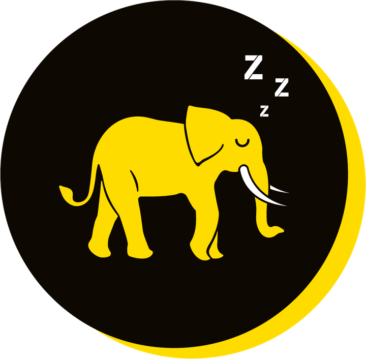 We Are Brass Tacks. Internal comms Agency.  Black circle with yellow drop shadow. Profile of yellow elephant facing right in centre of circle with Zs coming from head. Initiative Fatigue.