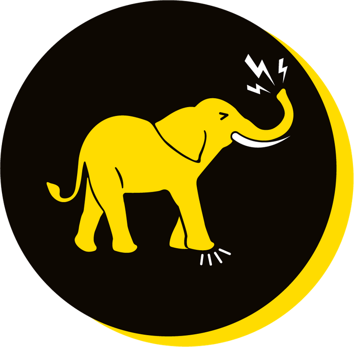 We Are Brass Tacks. Internal comms Agency.  Black circle with yellow drop shadow. Profile of yellow elephant facing right in centre of circle with Lightning bolts coming from trunk and impact tremors coming from front legs. Poor Soft Skills.