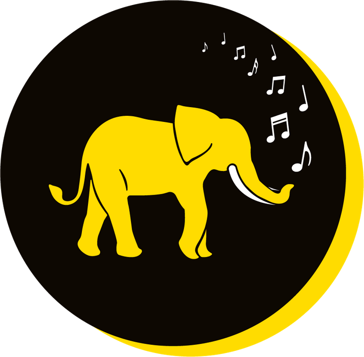 We Are Brass Tacks. Internal comms Agency.  Black circle with yellow drop shadow. Profile of yellow elephant facing right in centre of circle with musical notes coming from trunk. Ambiguous Messaging.