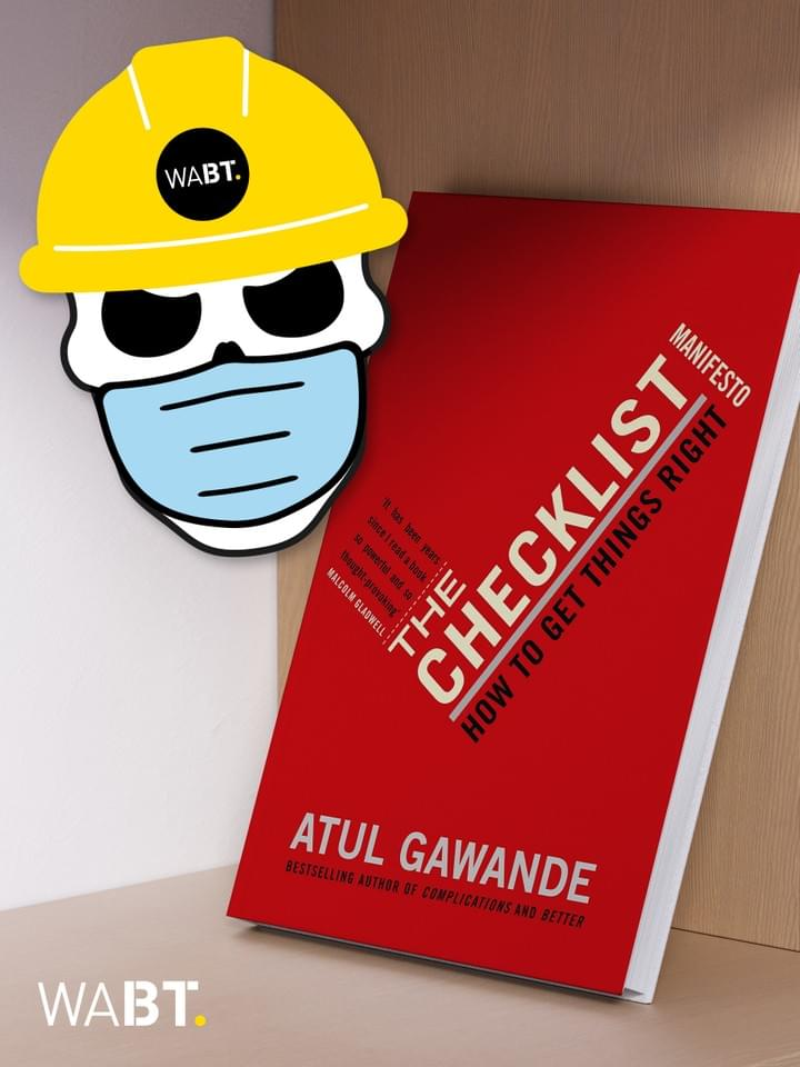 We Are Brass Tacks. Internal comms agency. Fred the Head. Book of the month. Vector image of a skull wearing a yellow hard hat and medical mask beside a red book leaning against a wall.