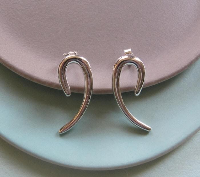 Katrina Alexander Infinity Silver Curve Earrings