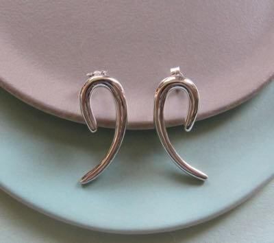 Katrina Alexander Infinity Silver Curved Earrings