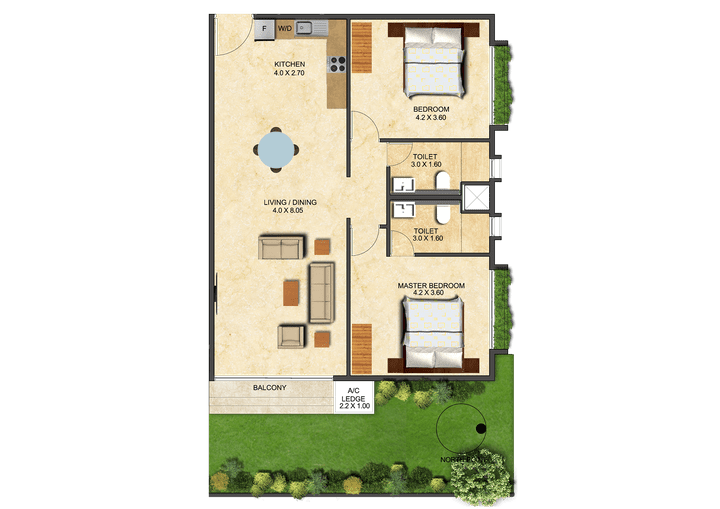 This picture shows the floor plan of a Two Bedroom Executive - Garden at the Ivy.