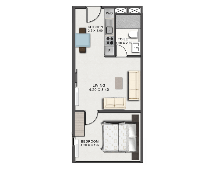 This picture is of the floor plan of the One Bedroom Junior at Tribute House.