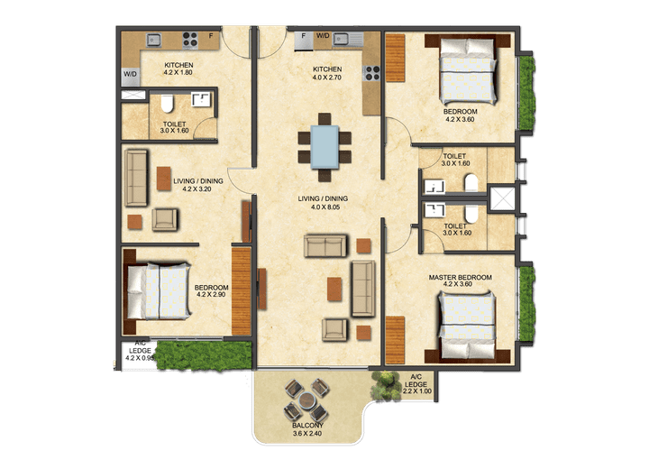 This picture shows the floor plan of a Three Bedroom Executive - Convertible at the Ivy.