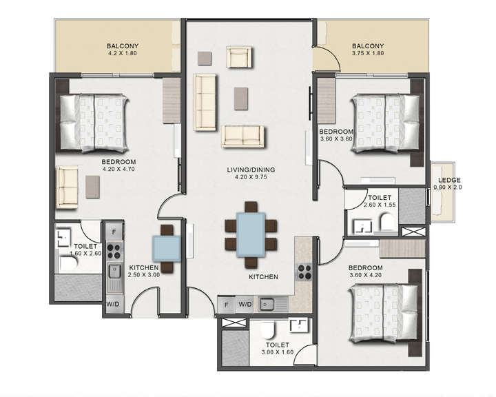 This picture is of the floor plan of the Three Bedroom at Tribute House.