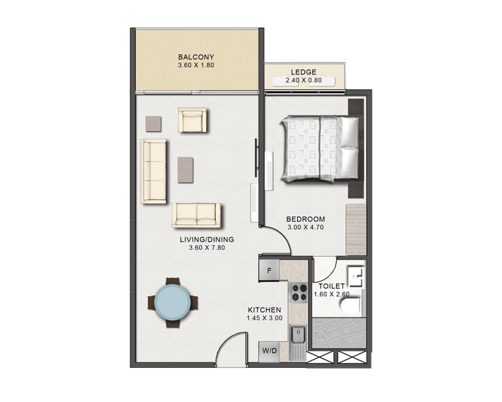 s of the floor plan of the One Bedroom Executive Type A at Tribute House.