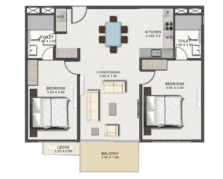 This picture is of the floor plan of the Two Bedroom Executive Type A at Tribute House.