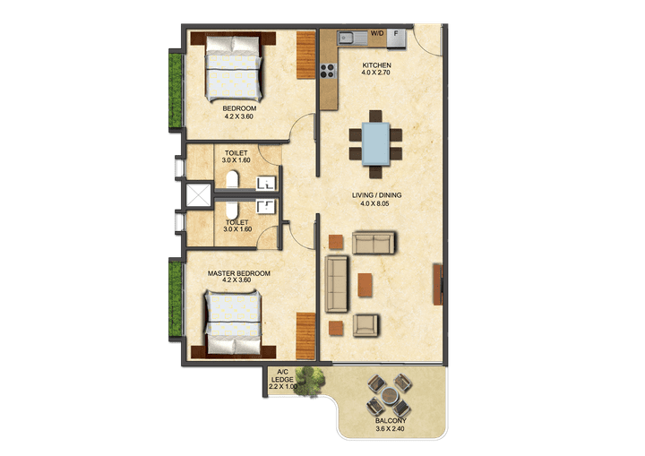 This picture shows the floor plan of a Two Bedroom Executive at the Ivy.