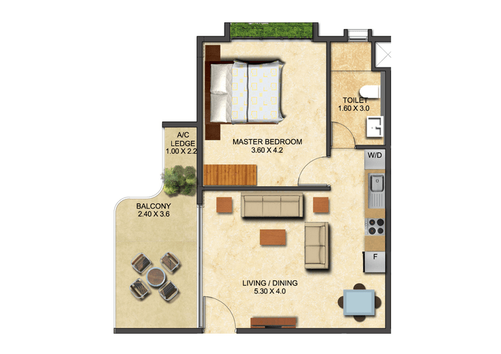 This picture shows the floor plan of a One Bedroom Executive at the Ivy.
