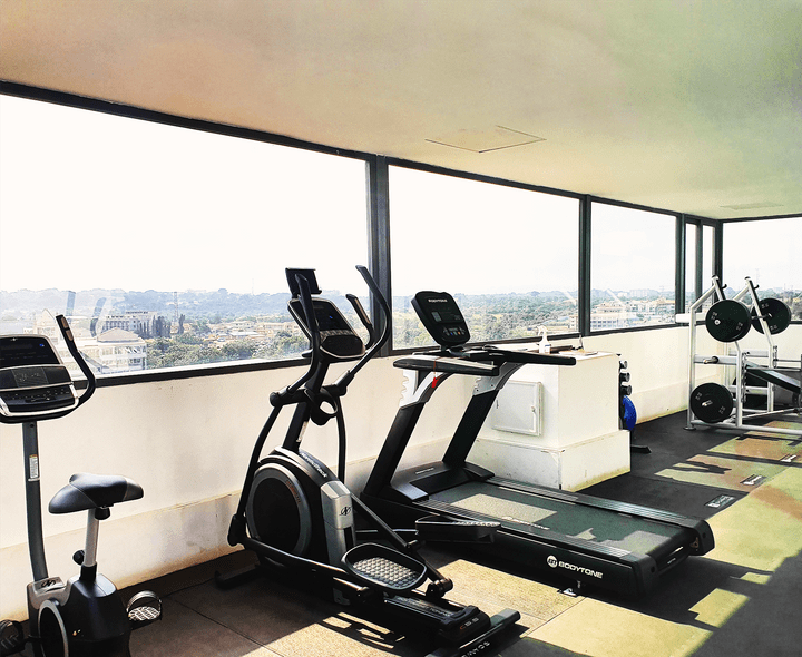 This picture shows the rooftop gym at the Ivy.