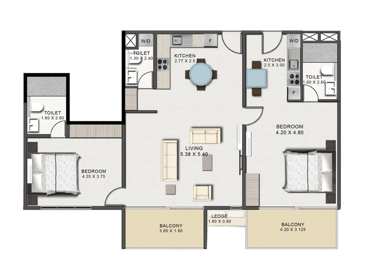 This picture is of the floor plan of the Two Bedroom Executive Type B at Tribute House.