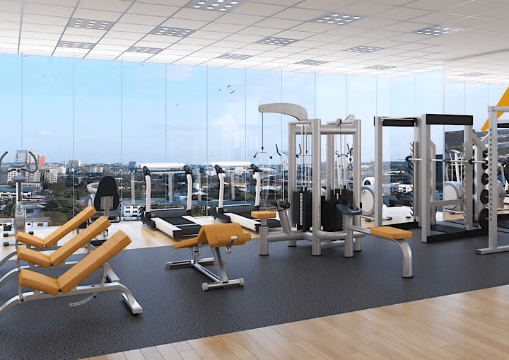 This picture shows the gym at Tribute House.