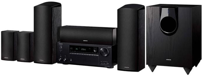 Front view of Onkyo network home theater package with dolby atmos, wifi and bluetooth