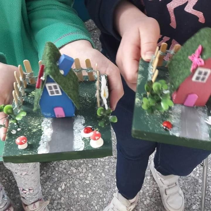 Children with their fairy house's they made at my craft workshops and classes