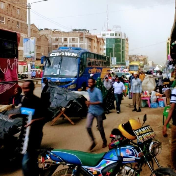 A street in the Eastleigh neighborhood of Nairobi, where most Somali refugees live, and where aidx conducted a month of research and prototyping in April, 2018.