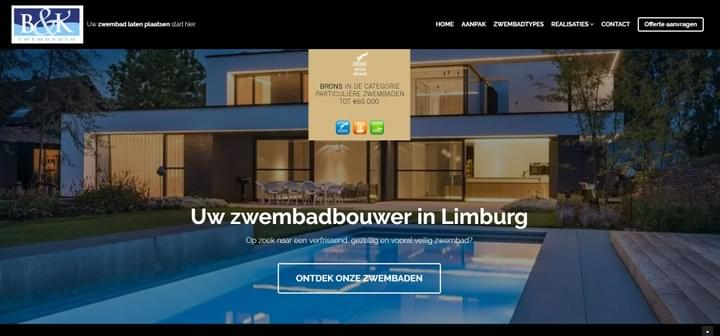 B&K zwembaden, website, screenshot