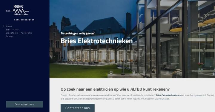Bries Elektrotechnieken, website, screenshot
