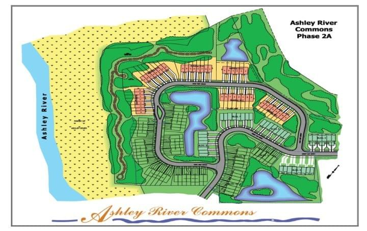 Map of Ashley River Commons townhome development land in Charleston SC market