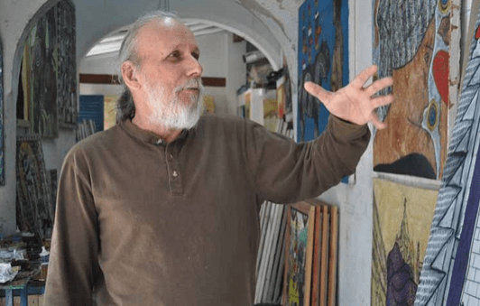 Artist Joel Jover in his Camaguey studio