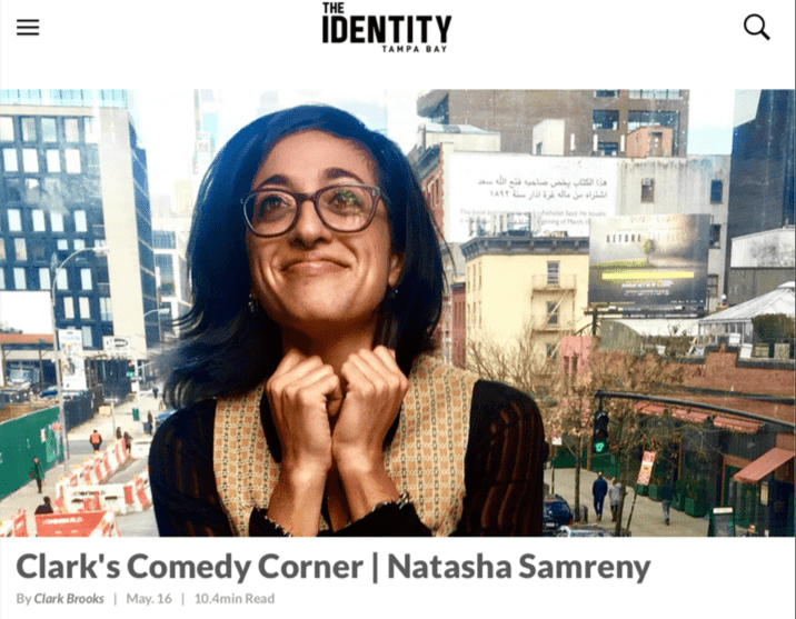 Clark Brooks interviews artist Natasha Samreny for Clark's Comedy Corner in The Identity Tampa Bay.