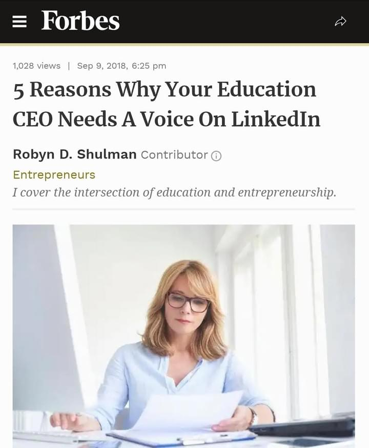 Forbes shares 5 reasons as to why Linkedin is important for a CEO in education sector