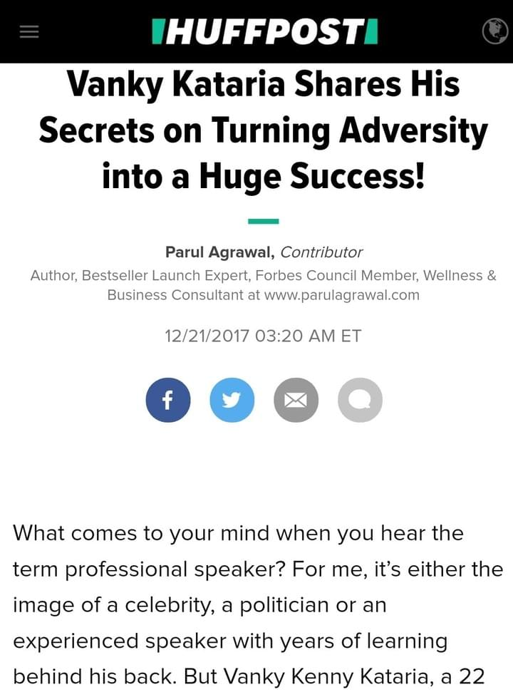 Huffington Post features vanky where he talks about turning adversity to success