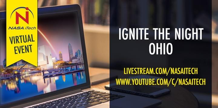 Computer with Cleveland skyline, Ignite the Night OHIO, a virtual event