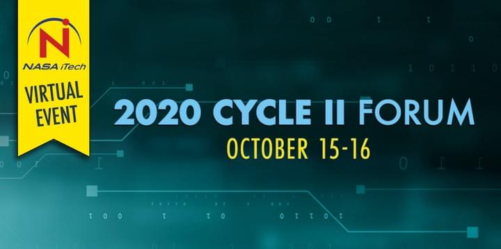 Teal background with data and lines, NASA iTech's 2020 Cycle II Forum in Tinton Falls, NJ