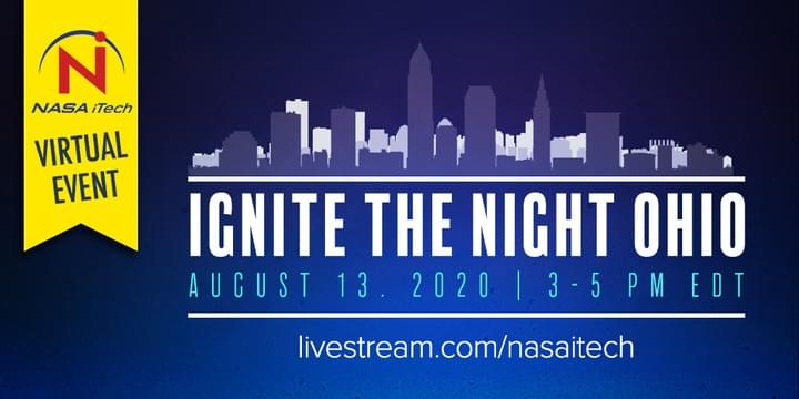 Cleveland skyline, NASA iTech's Ignite the Night OHIO, a virtual event