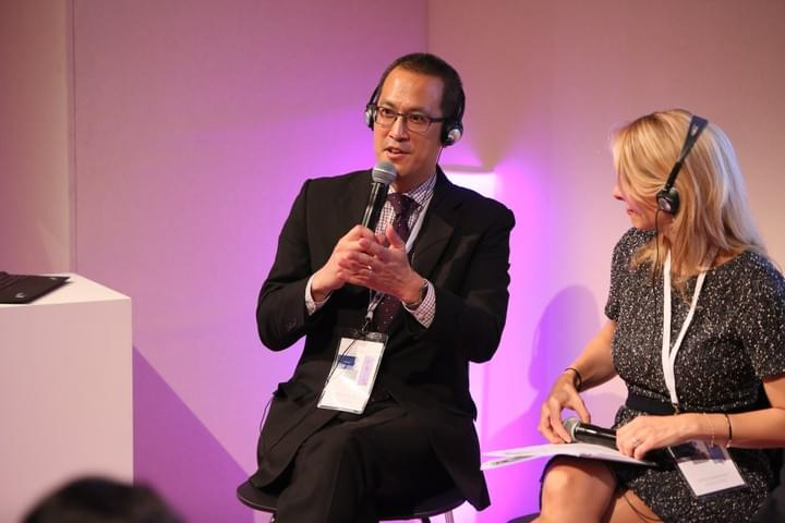 Larry Yu speaking on a panel for the Climate Reality Project