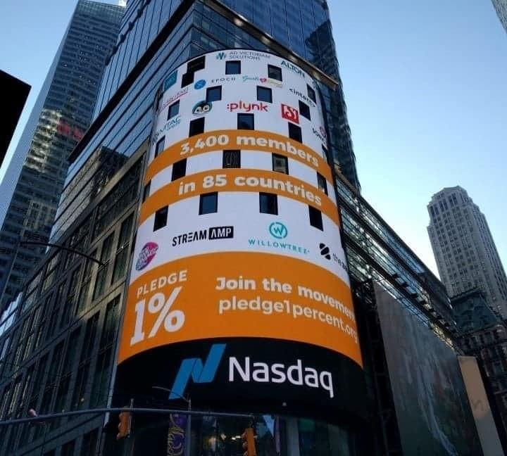 Pledge 1% Ringing Nasdaq Bell