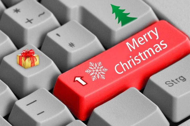Laptop keyboard with merry christmas key