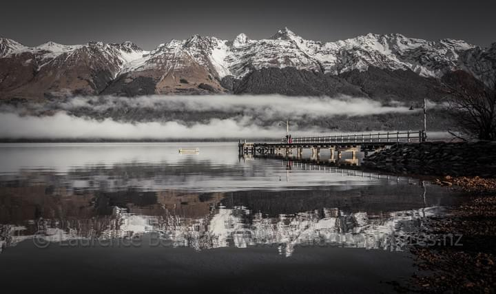 Looking across to Kinloch from the Glenorchy wharf with the snow capped Humboldt Range