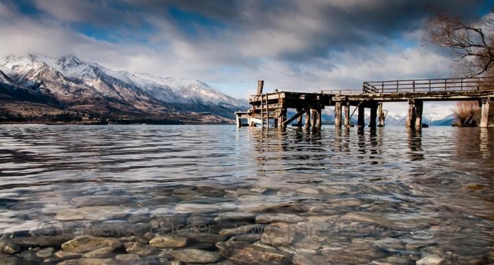 Kinloch wharf sits at the head of Queenstown's Lake Wakatipu opposite Glenorchy