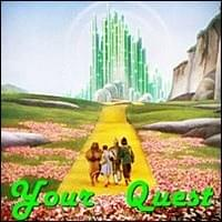 dorothy gale tin woodsman scarecrow and lion marching happily down the yellow brick road towards the emerald palace on a sunny day from the Wizard of Oz film movie, Your Quest, Trainer Path, StartOver.xyz, Possibility Management
