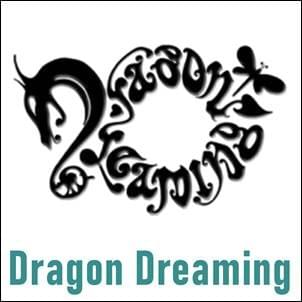 black and white Dragon Dreaming logo with dragon head and dragon fly, John Croft