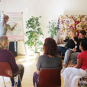 about 6 people sitting in a circle listening to a woman presenting a map on a flipchart