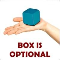 close-up of a small turquoise blue cube with rounded corners in the open palm of a caucausion woman's hand on white background, Box Is Optional, Trainer Path, StartOver.xyz, Possibility Management