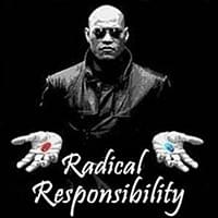 black and white morpheus photo offering in wide open hand the choice between blue pill or red pill which are in color, Radical Responsibility, Trainer Path, StartOver.xyz, Possibility Management