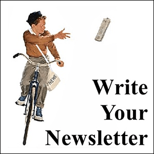illustration of young caucasian newspaper boy on a bike tossing, Write Your Newsletter, Trainer Path, StartOver.xyz, Possibility Management