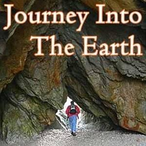 huge rock cliff meets rounded beach stones with man wearing blue jeans and backpack and  red jacket walking away from us through a crevace into the light, Journey Into The Earth