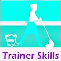 turquoise blue and white graphic of silhouette of the cleaning lady with mop in hand mopping floor with bucket in background, Trainer Skills, Trainer Path, StartOver.xyz, Possibility Management
