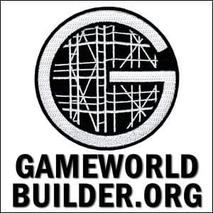 white capital letter G emproidered on black background filled with scaffolding design, Gameworld Builder.org