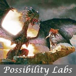 A human form facing a huge dragon in front of a burning background - Possiblity Labs