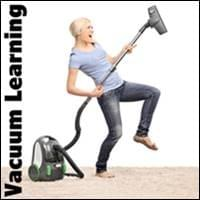 blond haired lady wearing blue shirt and blue jeans rocking out with her vacuum cleaner, Vacuum Learning, Trainer Path, StartOver.xyz, Possibility Management