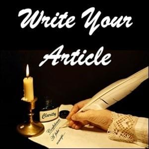 white feather pen in a caucasian woman's hand dresses in lace writing an article by candle light using the ink of clarity on a black background, Write Your Article