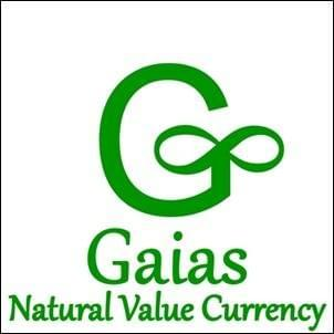 green symbol for Gaias Natural Value Currency on white background