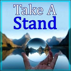 close up of crystal ball in a man's left hand held out as sharp view of mirror flat lake and fuzzy mountains in the distance with a blue sky, Take A Stand, Trainer Path, StartOver.xyz, Possibility Management